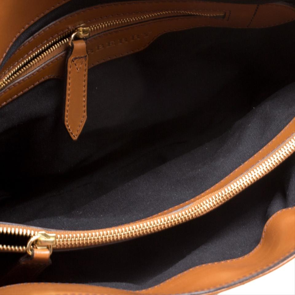 4d648ede334 Burberry House Check and Leather Medium Bridle Lynher Brown Canvas Tote -  Tradesy