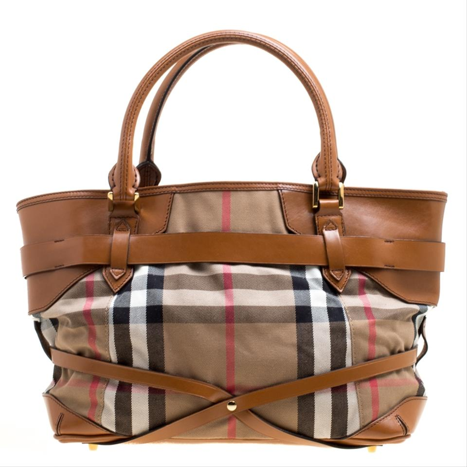 aa7396c38ed9 Burberry House Check and Leather Medium Bridle Lynher Brown Canvas Tote -  Tradesy