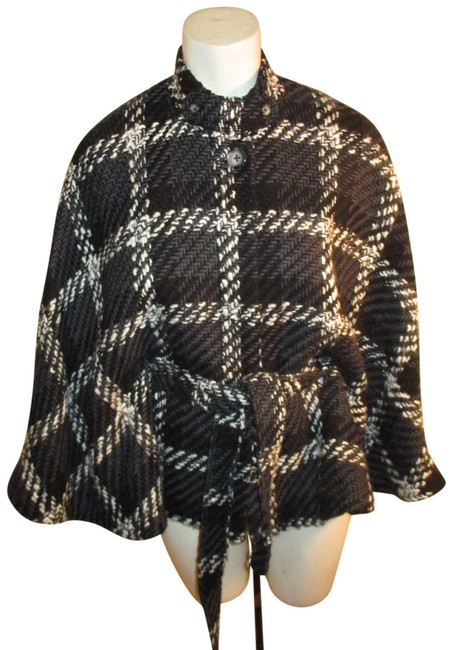 Item - Harold's Black White & Gray Belted Plaid Poncho/Cape Size 12 (L)