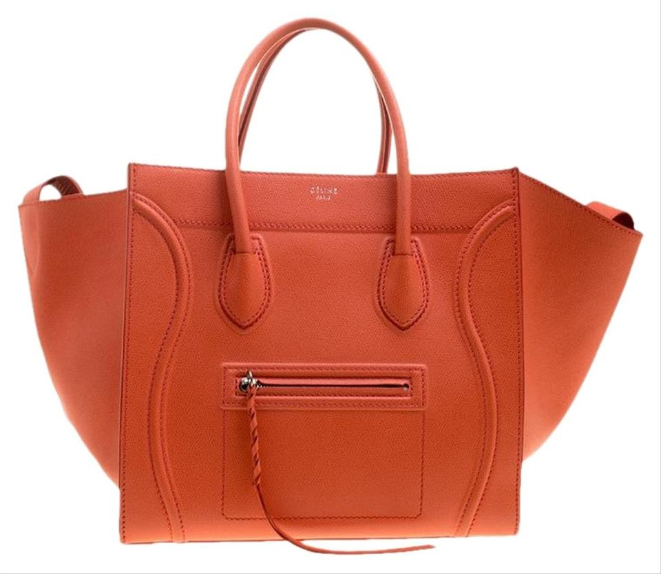 b63ab55e86 Céline Cabas Phantom Luggage Medium Orange Leather Tote - Tradesy