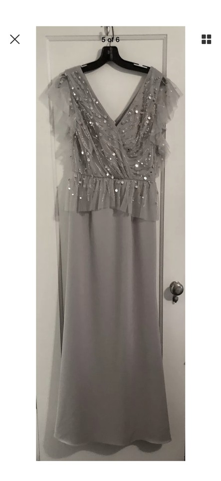 David Meister Champagne Crepe V Neck Gown with Beaded Bodice Long ...