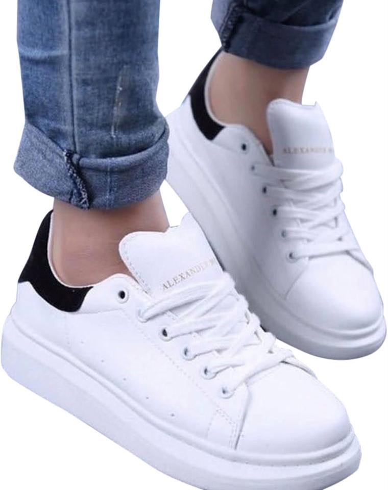 3030fa8d0 Alexander McQueen Black   White Leather Lace-up Platform Sneakers ...