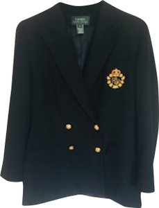 Ralph Lauren Nautical Double Breasted Black imported wool Blazer