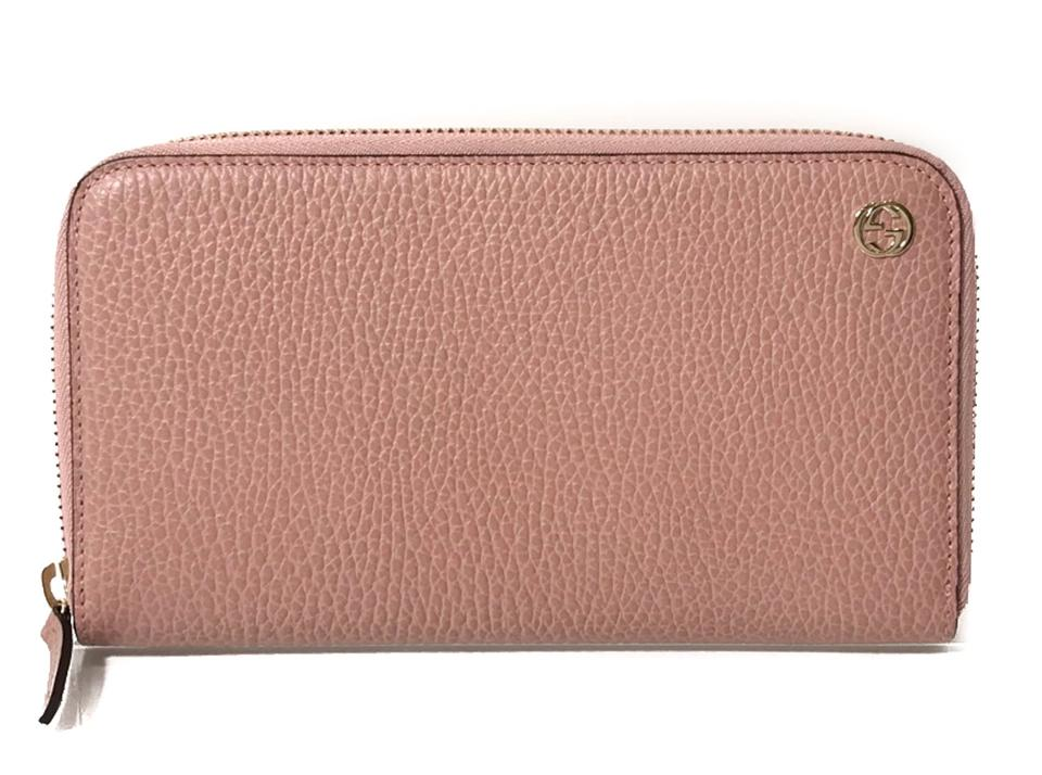 28404f674489 Gucci GUCCI 449347 Interlocking G Leather Zip around Wallet, Pink Image 0  ...