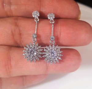 Silver Bride Cz Sterling Drop Pierced Earrings