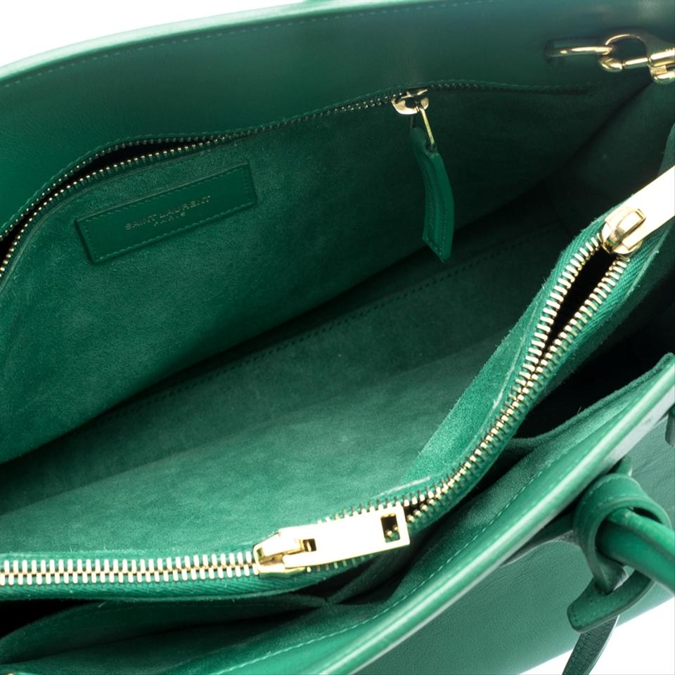 792d11ea47a Saint Laurent Leather Suede Paris Classic Tote in Green Image 10.  1234567891011