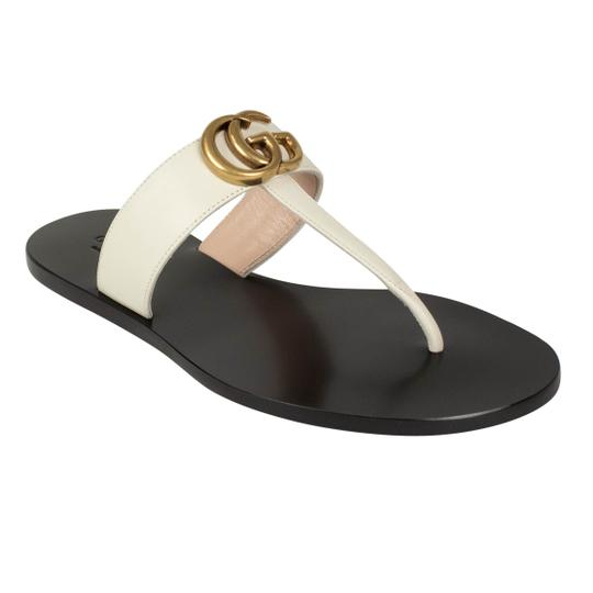 Gucci White Marmont Flat 'gg' Leather