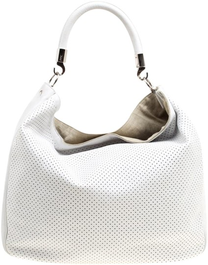 Saint Laurent Leather Canvas Perforated Hobo Bag