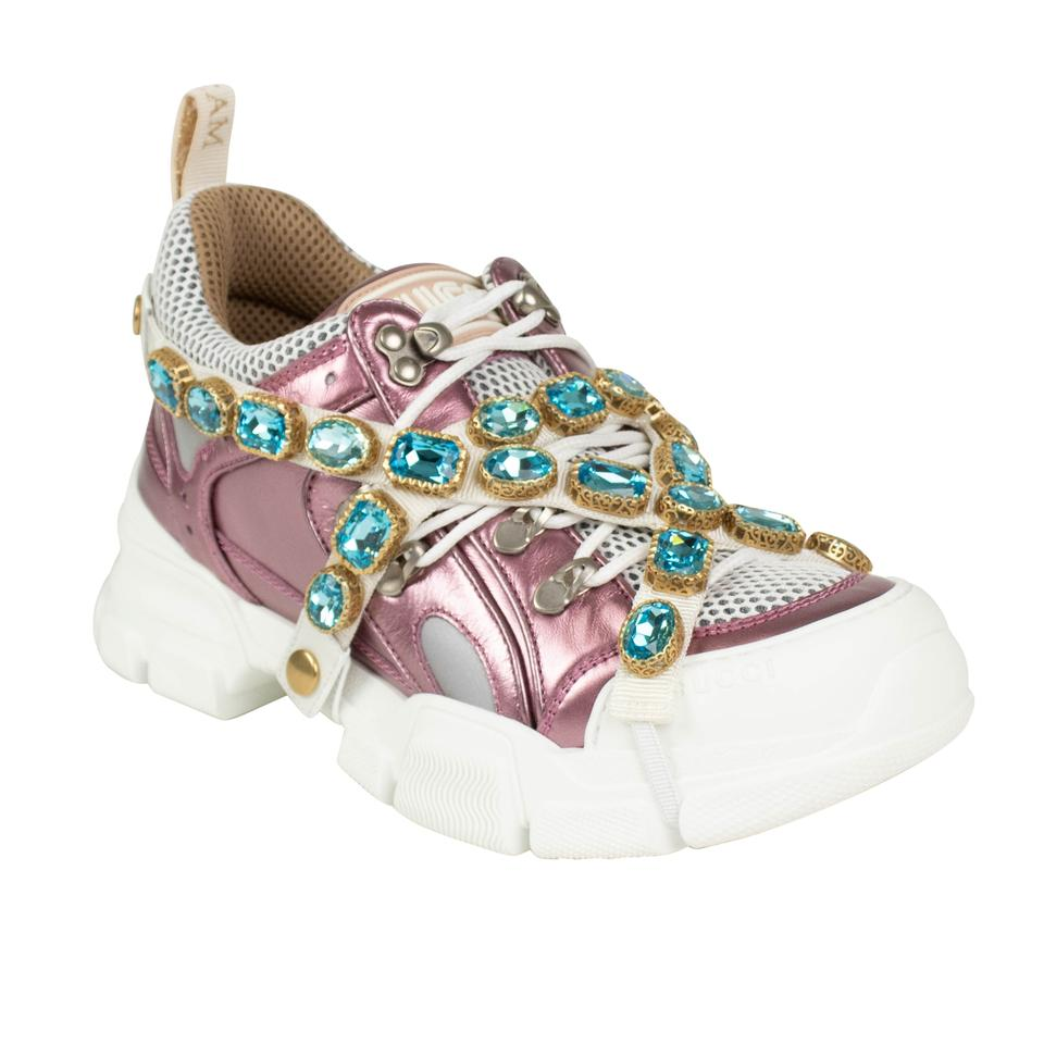 7f8761b84f3 Gucci Pink Flashtrek Metallic with Chain Strap Sneakers. Size  EU 36 ...