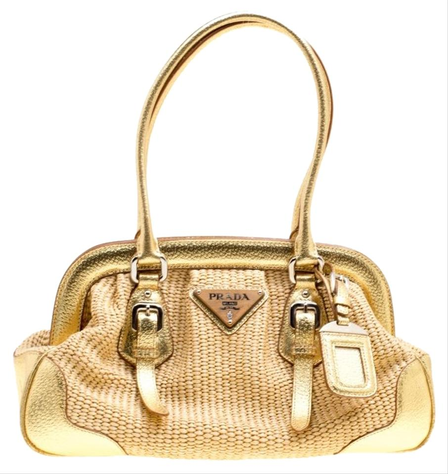 8065e7a4ccbe51 Prada Beige/Gold Woven Raffia And Beige Leather Satchel - Tradesy