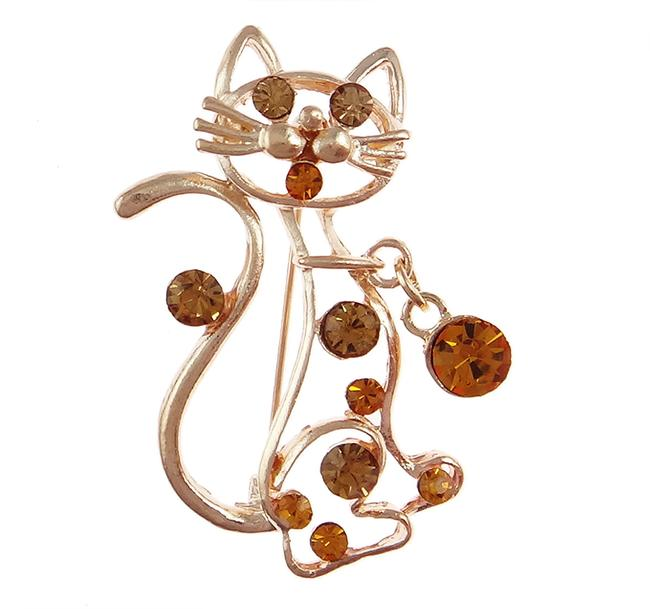 Item - Amber Figural Cat Gold Tone Rhinestone Brooch with Charm