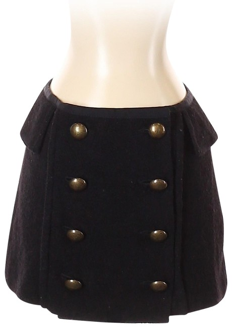 Item - Black Wool with Button Accent Skirt Size 0 (XS, 25)