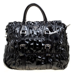 d1c3b44a1cc2 Prada Patent Leather Nylon Tote in Black