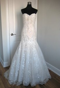 Justin Alexander Taupe/Ivory Tulle and Lace 8793 Feminine Wedding Dress Size 8 (M)