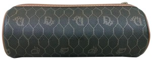 Dior Christian Dior Brown Monogram Coated Canvas Barrel Cosmetic Pouch SALE