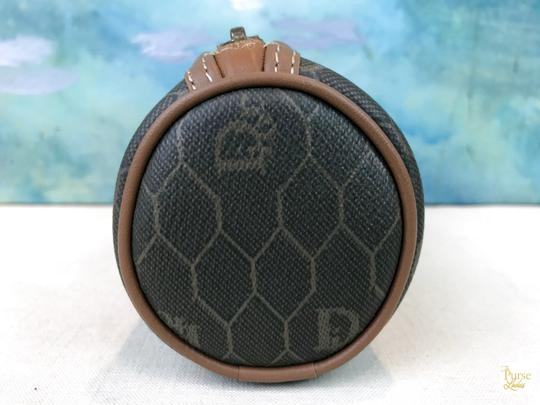 Dior Christian Dior Brown Monogram Coated Canvas Barrel Cosmetic Pouch SALE Image 3
