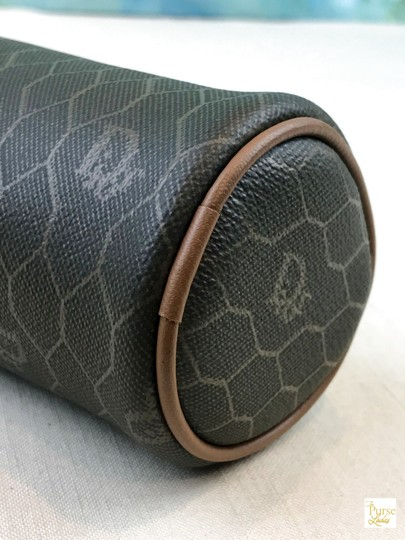 Dior Christian Dior Brown Monogram Coated Canvas Barrel Cosmetic Pouch SALE Image 6