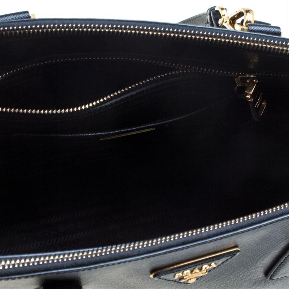 54f6c920be2a Prada Galleria Double Lux Saffiano Medium Zip Top Handle Black Leather  Shoulder Bag - Tradesy