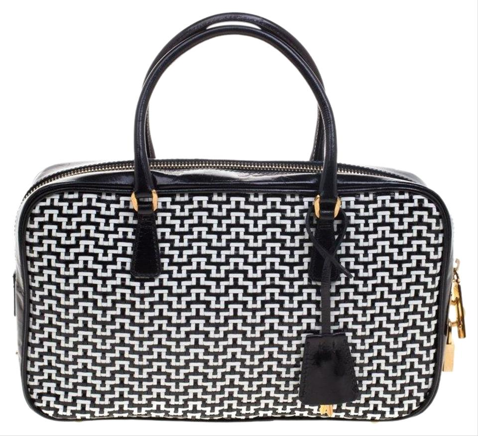 c7b9bcf4420b Prada Black White Woven Bowler Black White Leather Shoulder Bag ...