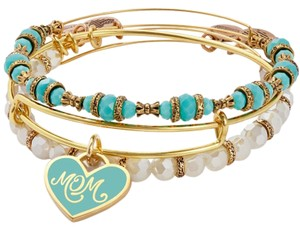 Alex + Alex Alex & Ani Mom Set Of Three- Gold/Turquoise & Votive Candle