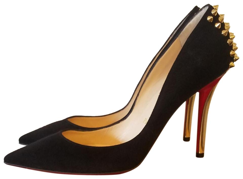 huge selection of 1a6c6 34ab6 Christian Louboutin Black Zappa 100 Suede/Specchio Heel Cm6s Black/Gold  Pumps Size EU 38.5 (Approx. US 8.5) Regular (M, B) 18% off retail