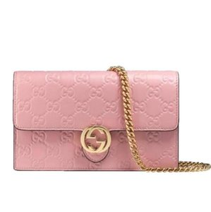 93fc6e460be6 Added to Shopping Bag. Gucci Cross Body Bag. Gucci Chain Wallet Icon Gg  Pink Leather ...