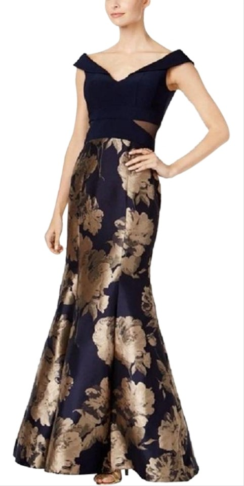 a1d455d7 Xscape Navy Champagne Off-the-shoulder Mermaid Gown Blush Formal Dress