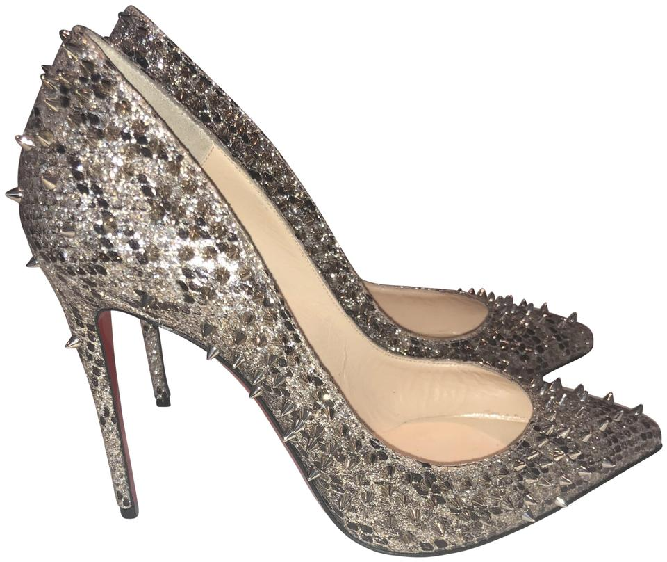 7ced99f0dfe Christian Louboutin Gold Follies Spiked Snake Skin Red Sole Pumps ...