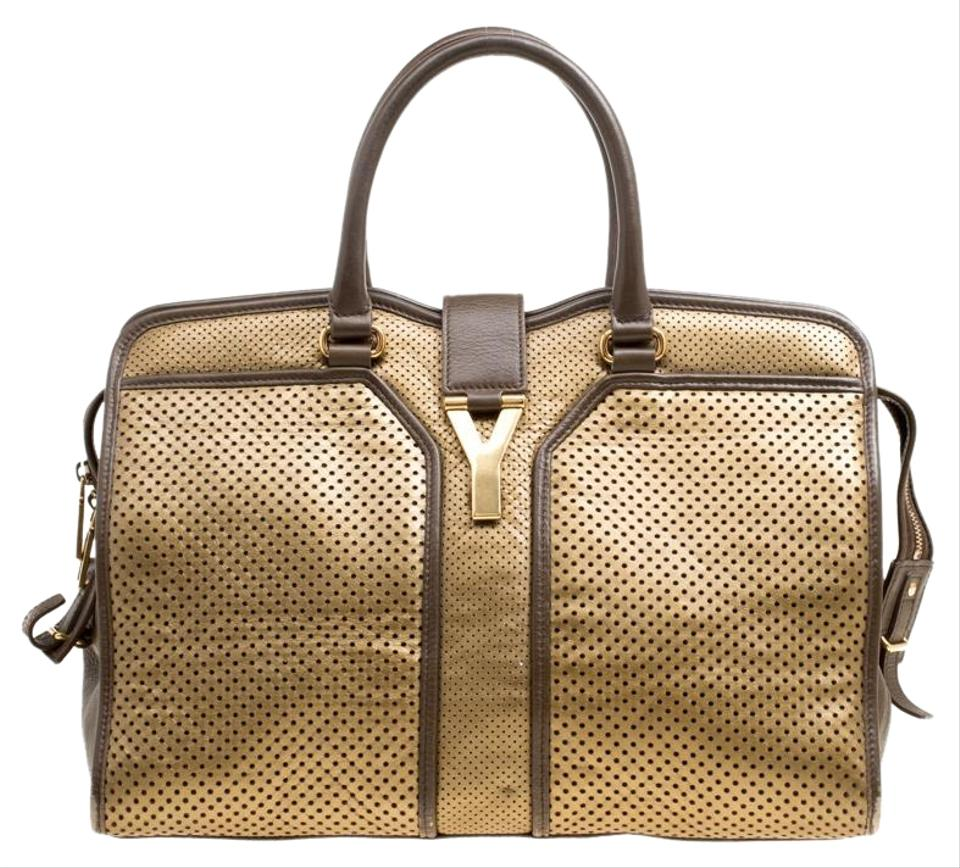 f8bc6af6e701 Saint Laurent ChYc Perforated Medium Cabas Brown Leather Tote - Tradesy
