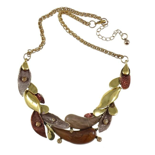 Item - Brown and Gold Arts & Crafts Enamel & Rhinestone Accent Brass Leaves Necklace