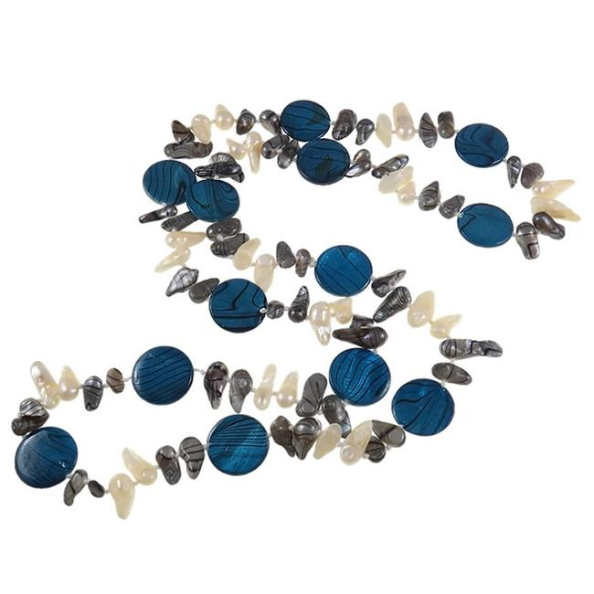 Item - Blue Gray and White Freshwater Pearl & Striped Shell Bead & Necklace