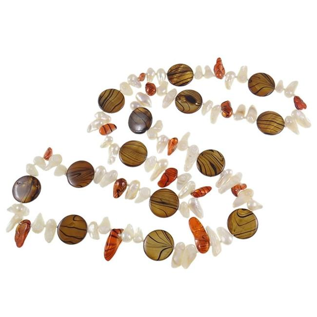 Vintage Brown Orange and White Freshwater Pearl & Striped Shell Bead Chestnut Necklace Vintage Brown Orange and White Freshwater Pearl & Striped Shell Bead Chestnut Necklace Image 1
