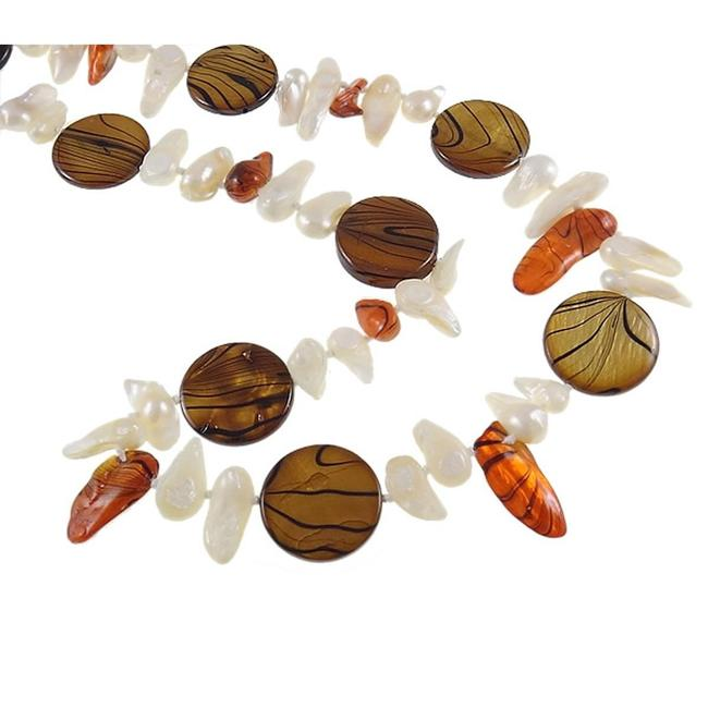 Vintage Brown Orange and White Freshwater Pearl & Striped Shell Bead Chestnut Necklace Vintage Brown Orange and White Freshwater Pearl & Striped Shell Bead Chestnut Necklace Image 2