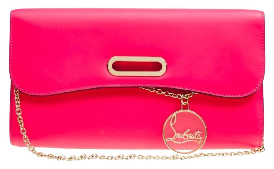 03ec141bc14 Christian Louboutin Riviera Fluorescent Pink Leather Clutch 58% off retail