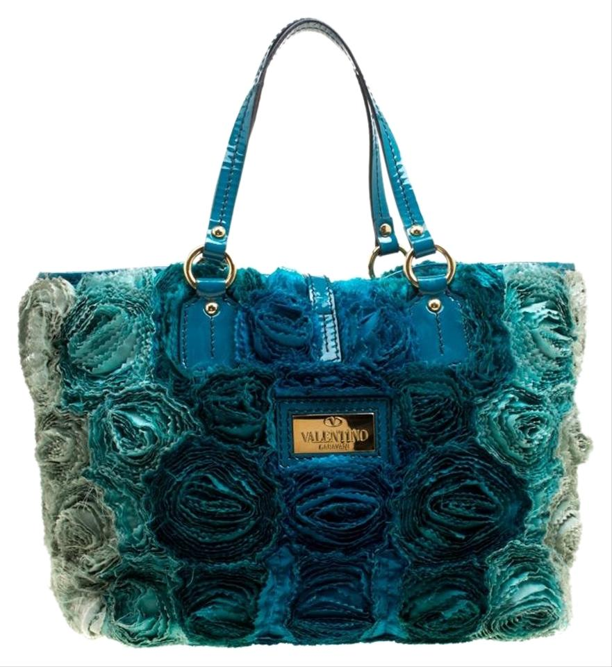 a76631aadc7a Valentino Silk and Patent Leather Organza Rosier Blue Satin Tote ...