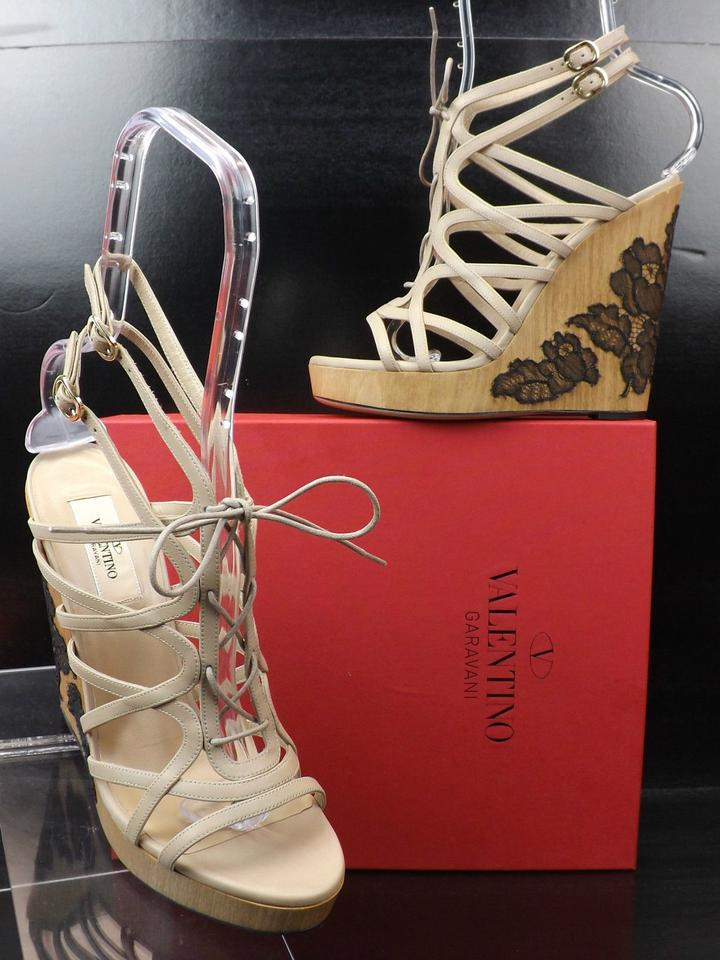 1b716ca9f51 Valentino Beige Nude Leather Cage Lace Up Wooden Lace Wedges Heels  Platforms Size EU 40.5 (Approx. US 10.5) Regular (M, B) 70% off retail