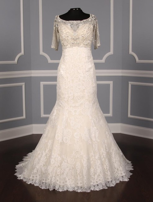 Item - Ivory W/Lt Gold Lining Lace C341 Formal Wedding Dress Size 12 (L)