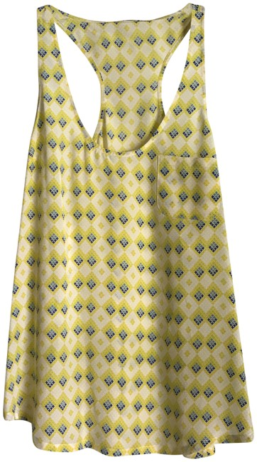 Item - Yellow/Blue/White New Silk Diamond Pattern Racerback In Small Tank Top/Cami Size 6 (S)