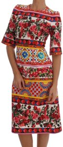 Dolce&Gabbana short dress Red White Yellow Blue Rose Carretto Dolce Bgdr1335 on Tradesy