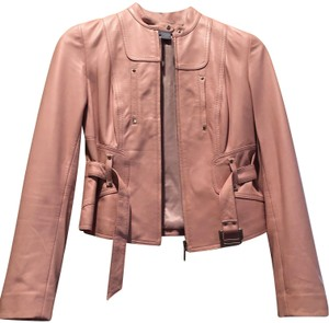 Eccoci Pale Pink Leather Jacket