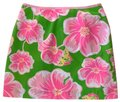 Lilly Pulitzer Mini Skirt green, hot pink, white, with a bit of yellow