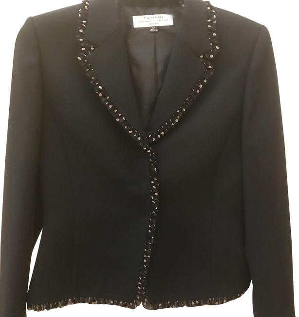 Item - Black W/ Taupe Dot Trim Jacket W/ Skirt Suit Size 6 (S)