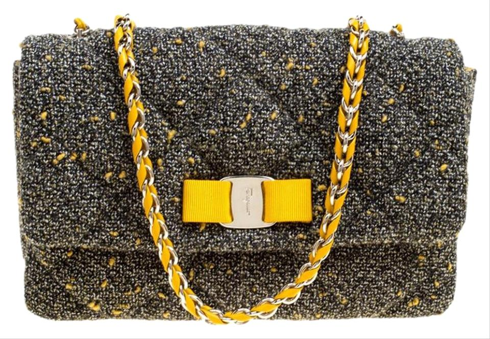Salvatore Ferragamo Quilted Gelly Grey Tweed and Fabric Shoulder Bag ... 4450d7b7742d1