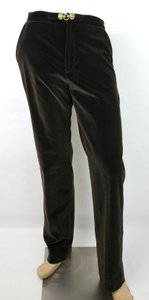 Gucci Dark Brown W Men's Velvet Dress Pant W/Wolf Button 46 Mrw 431708 2060 Groomsman Gift