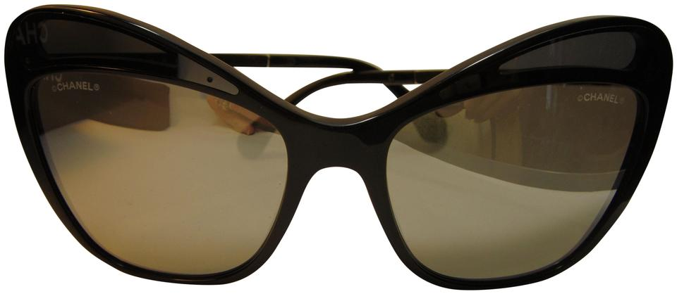 28595c9d944 Chanel Black 5377a Mirror Accent Cat Eye Sunglasses - Tradesy