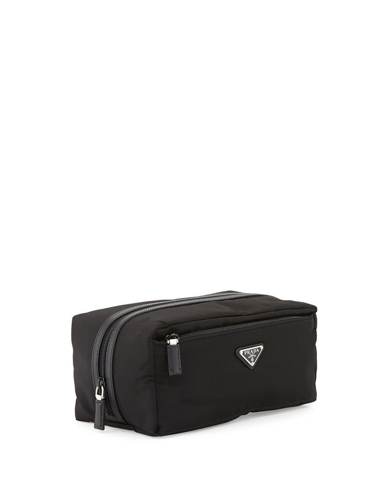 671dddd5ab91 Prada Black Tessuto Nylon Leather Trim Men s Toiletry Travel Case 2na029 Cosmetic  Bag