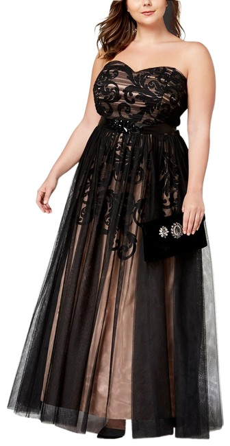 Item - Black/Tan Plus Strapless Chiffon-overlay Belted Gown Black/Tan Long Formal Dress Size 14 (L)