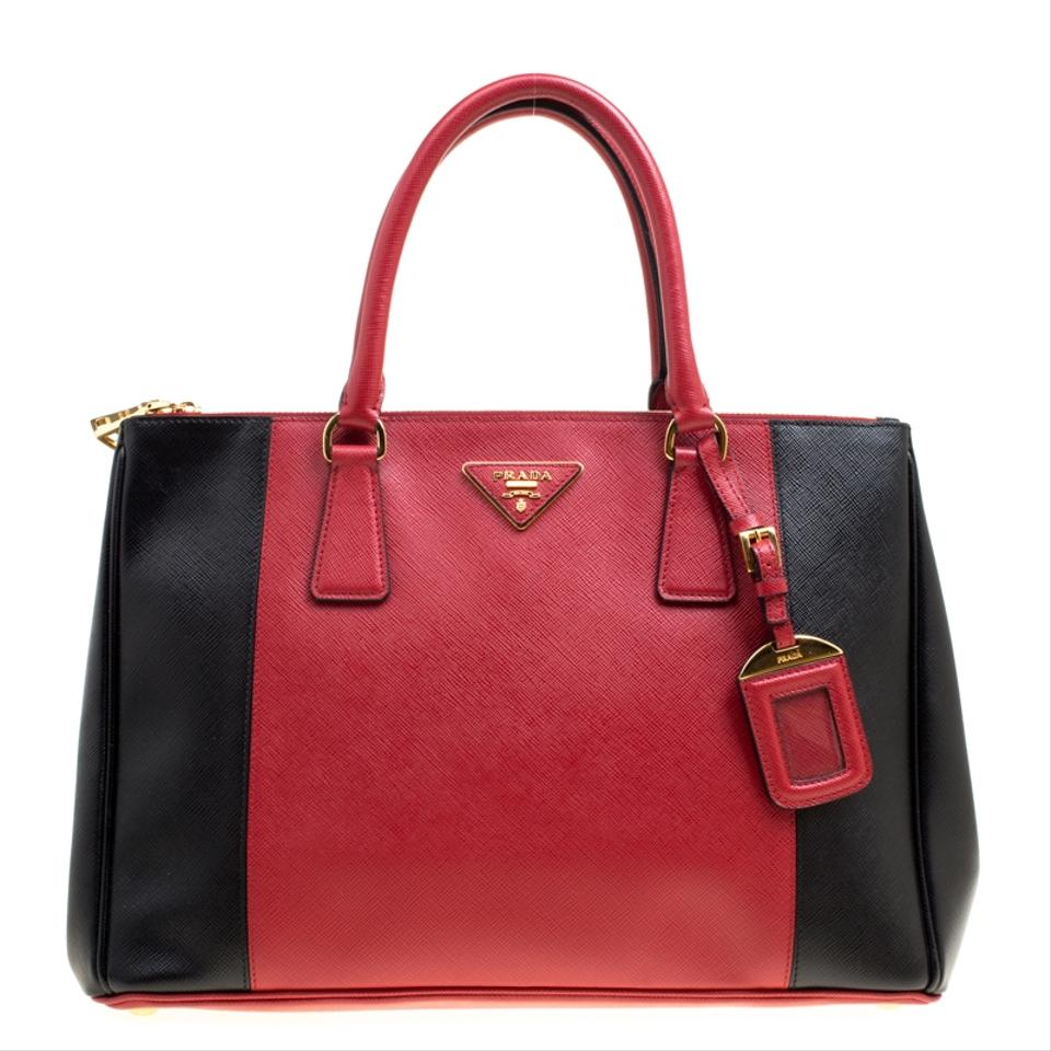 abe2fc168b40 real prada double lux red black medium zip red saffiano leather tote f6976  1d30d