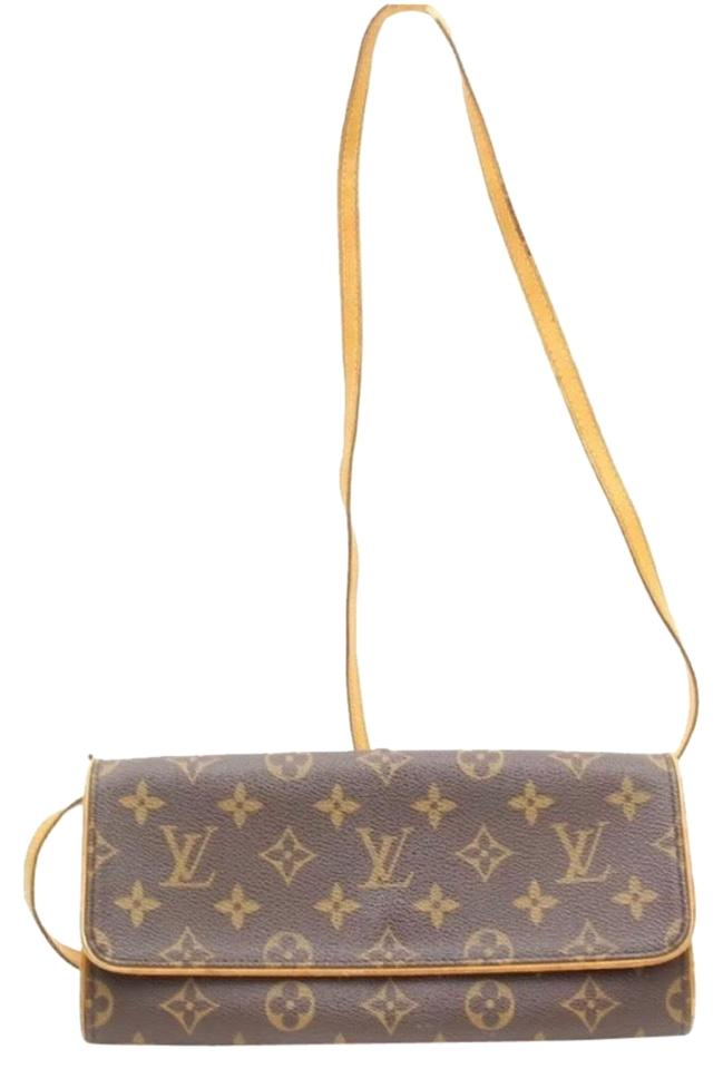 ea3d296dab Louis Vuitton Pochette Twin Clutch Gm Shoulder/Crossbody/Clutch Brown and  Tan Monogram Leather Cross Body Bag