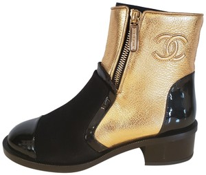 Chanel Patent Leather Metallic Suede Gold/Black Boots